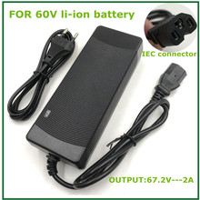 Saída 67.2v2a carregador para 60v li ion bateria de lítio bicicleta elétrica com conector do pc iec