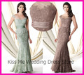 2015 Novo Verde Marrom Renda Mãe Elegante Da Noiva Vestidos de Um Pedaço de Manga Cap Peplum Custom Made Vestido LO027