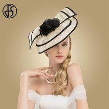 FS Elegant Ladies Fascinators Hats For Weddings Sinamay Cocktail Hat With Flowers Women Church Dress Kentucky Derby Fedoras