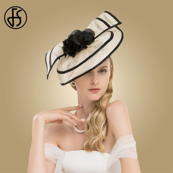 FS Sinamay Fascinator Weddings Hats For Women Elegant Cocktail Pillbox Hat With Flower Church Dress Ladies Kentucky Derby Fedora b055 round saucer teardrop sinamay percher hat fascinator millinery craft base