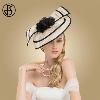 FS Sinamay Fascinator Weddings Hats For Women Elegant Cocktail Pillbox Hat With Flower Church Dress Ladies Kentucky Derby Fedora multi brimmed sinamay hat