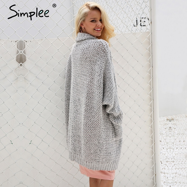 Simplee Casual knitting long cardigan female Loose kimono cardigan knitted jumper 2017 warm winter sweater women cardigan