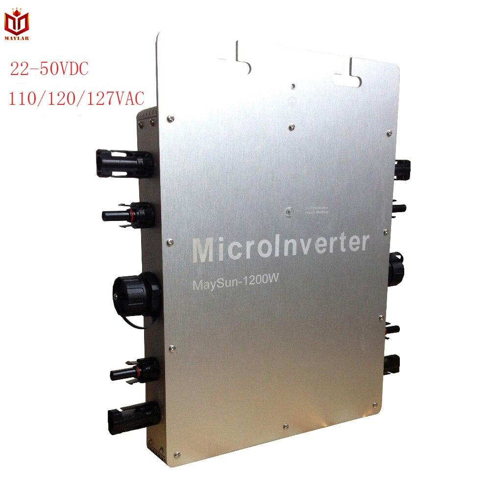 MAYLAR @ Maysun1200W 22-50VDC Imperméable Onde Sinusoïdale Pure Sur La Grille Cravate Micro Onduleur Avec 4 Fonction MPPT