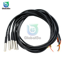 1M 2M 2.5M 3M DS1820 Stainless Steel Waterproof Temperature Probe Sensor Cable Line 18B20 DS18B20 Temperature Sensor Chip