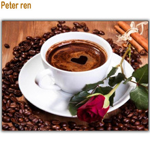 Diamond painting Cross stitch Diy Drawing Rose Coffee 50*40cm 3D Mosaic Full square embroidery