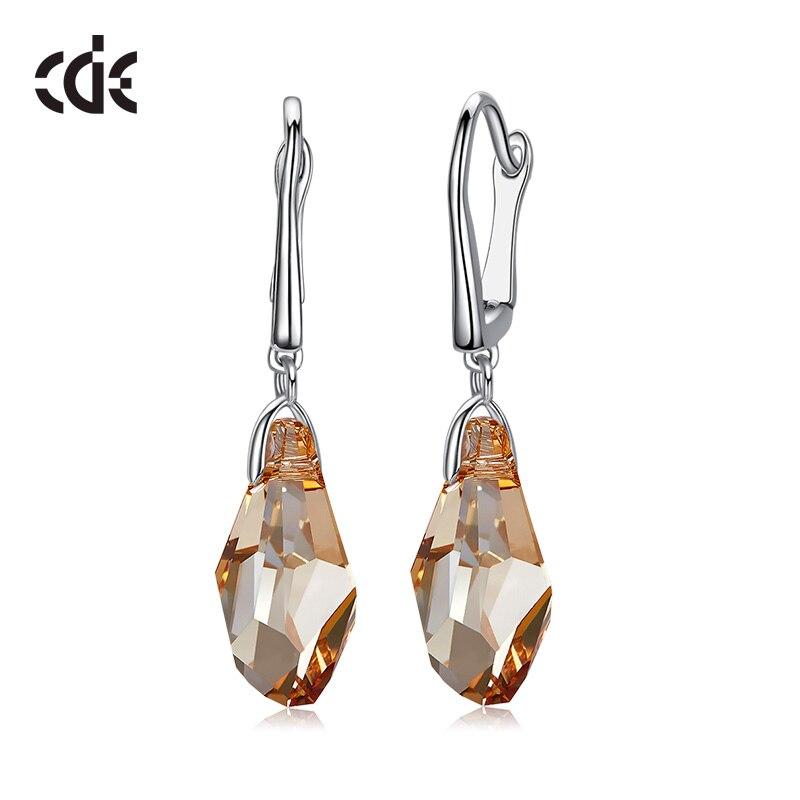 HTB1QTSLalCw3KVjSZFuq6AAOpXan CDE 925 Sterling Silver Earrings Square Embellished with crystals Stud Earrings Women Earrings Womens Jewellery