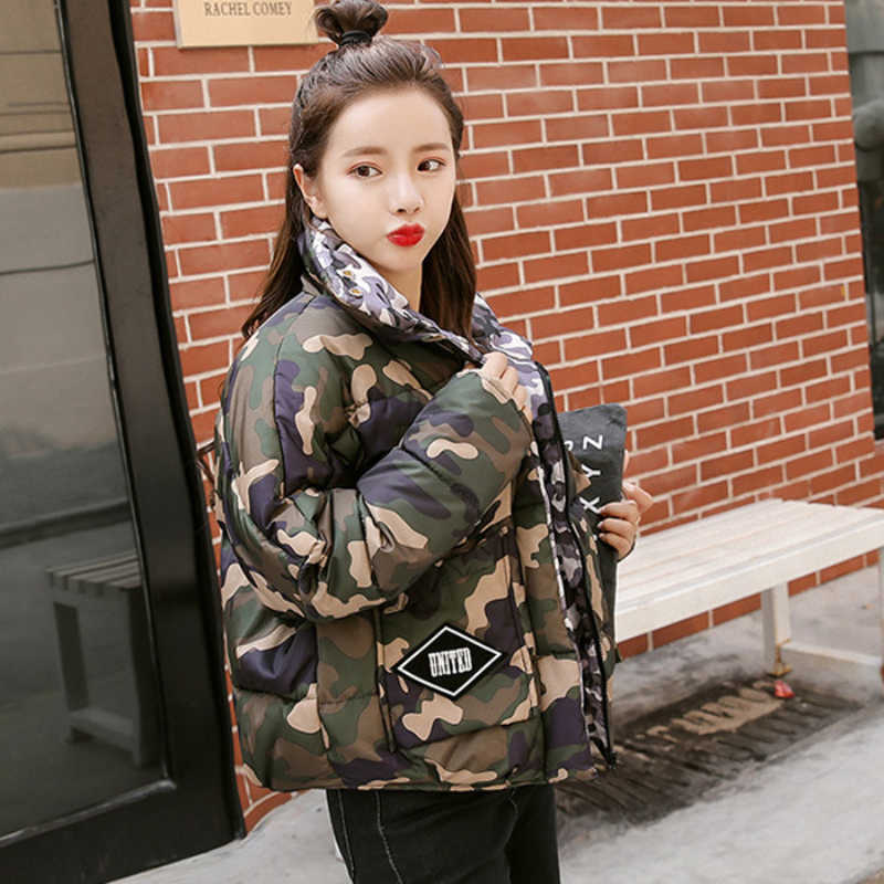 5cfaa5a01a8 ... Winter Women Camo Military Jackets 2018 Ladies Cotton Padded Short  Green Coats Camouflage Feminine Purple Anorak ...
