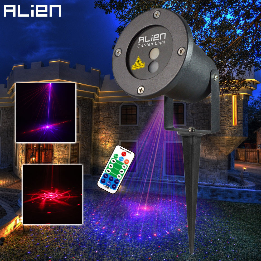 цены на ALIEN Remote 8 Patterns Red Blue Outdoor Laser Lights RB Effect Projector Christmas Lighting Waterproof Garden Xmas Tree Light в интернет-магазинах