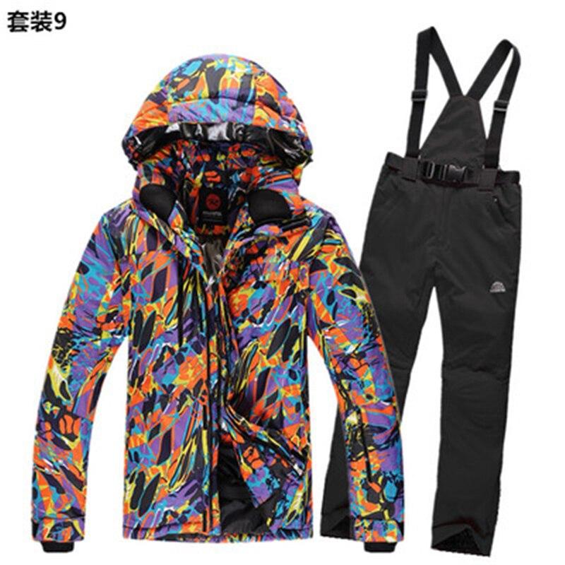 Prix pour Neige d'hiver ski costume hommes épaississent coton-rembourré ski veste hommes en plein air imperméable et respirante neige veste et pantalon ensembles