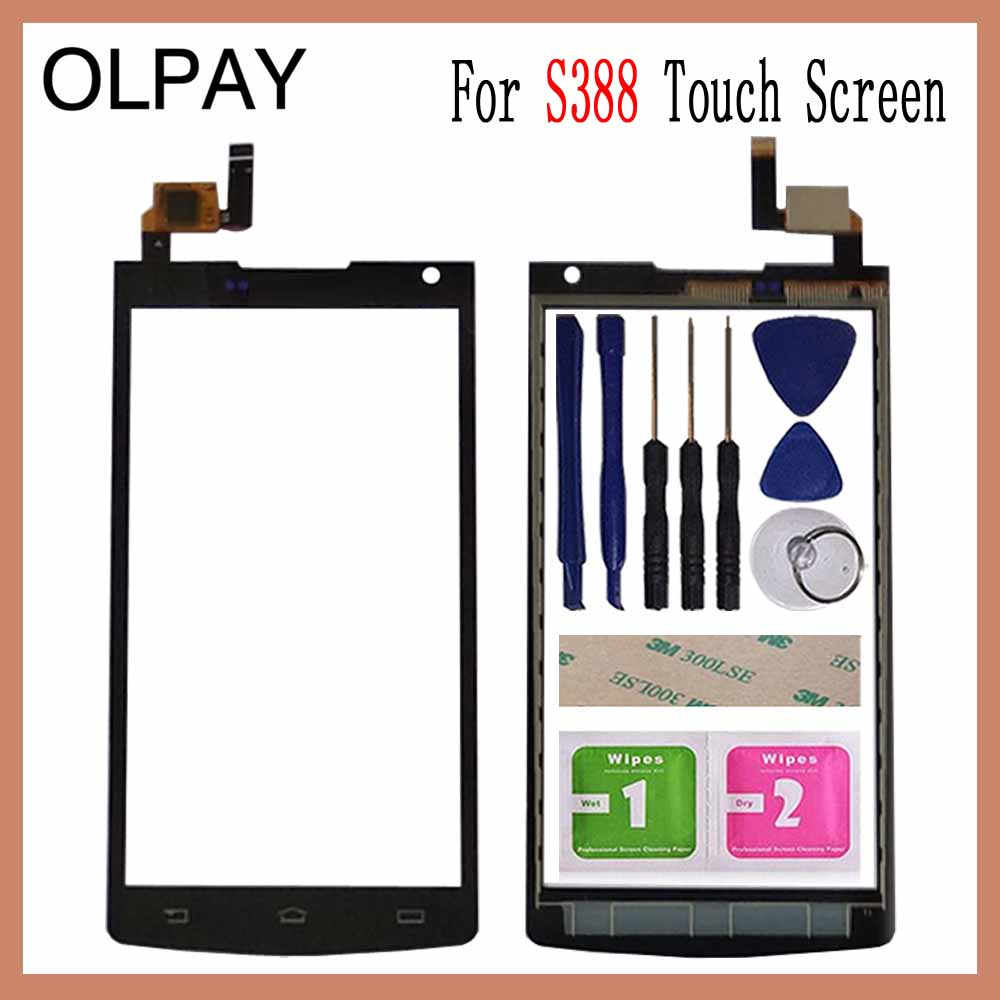 OLPAY 4.5'' Touch Screen For Philips S388 Touch Screen Digitizer Panel Front Glass Lens Sensor Tools Free Adhesive+Wipes
