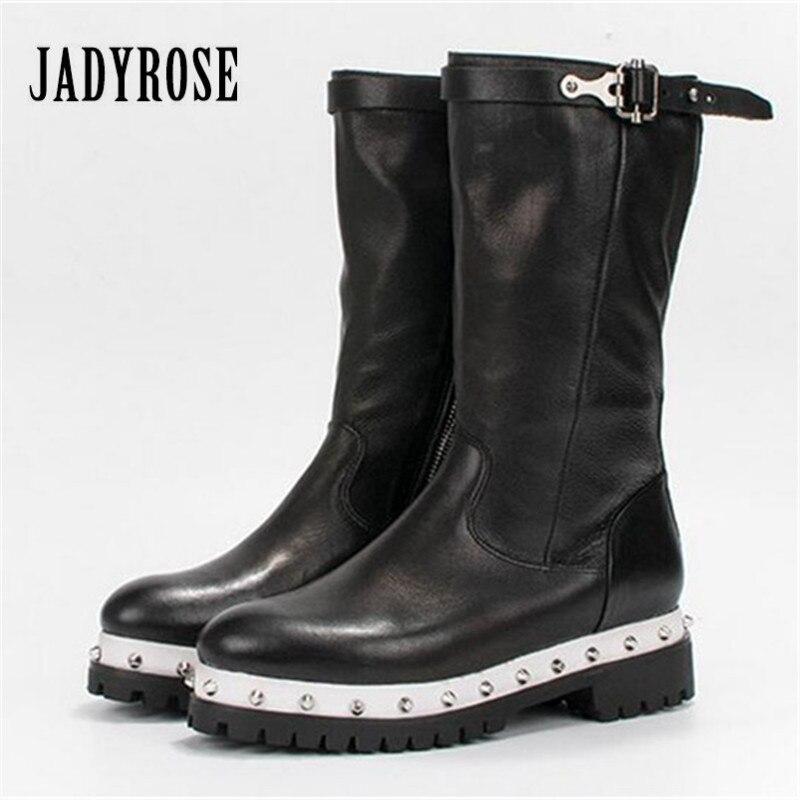 Jady Rose 2018 New Black Women High Boots Rivets Studded Thick Heel Platform Rubber Boots Female Mid-Calf Martin Boots Creepers цены онлайн