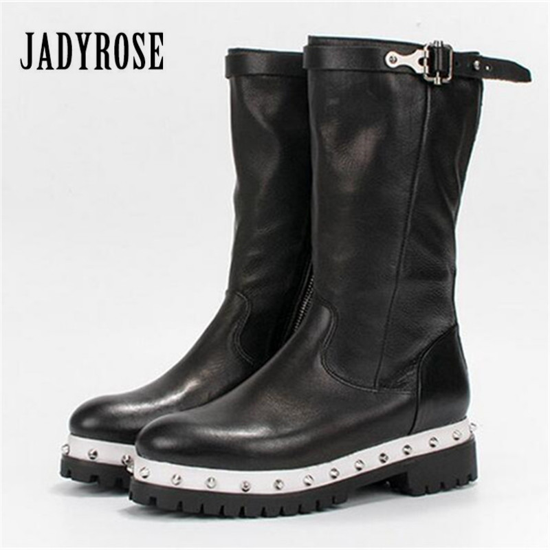 Jady Rose 2019 nouveau noir femmes bottes hautes Rivets clouté talon épais plate-forme bottes en caoutchouc femme mi-mollet bottes d'équitation Creepers