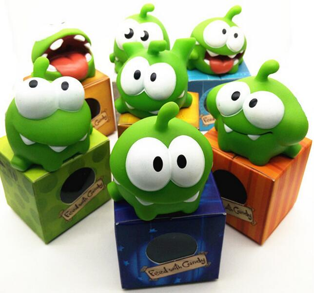 1Pcs Rope frog vinyl Rubber android games doll Cut the Rope OM NOM Candy Gulping Monster Toy Figure Phone Game rattle ледянка 1toy cut the rope cut the rope