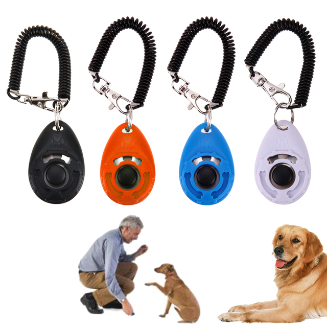 1pc Pet Trainer Pet Dog Training Dog Clicker Adjustable Sound Key Chain And Wrist Strap Doggy Train Click