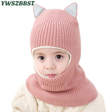 New Crochet Baby Hat with Cat Ear Hooded Scarf Autumn Winter Cap Warm Plush Kids Caps for Girls Boys