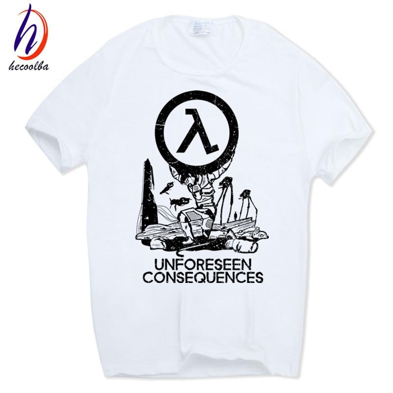 2018 Men Print Half Life 3 T-shirt Short sleeve O-Neck Camisetas Funny Tops Casual White Streetwear Tshirt HCP519