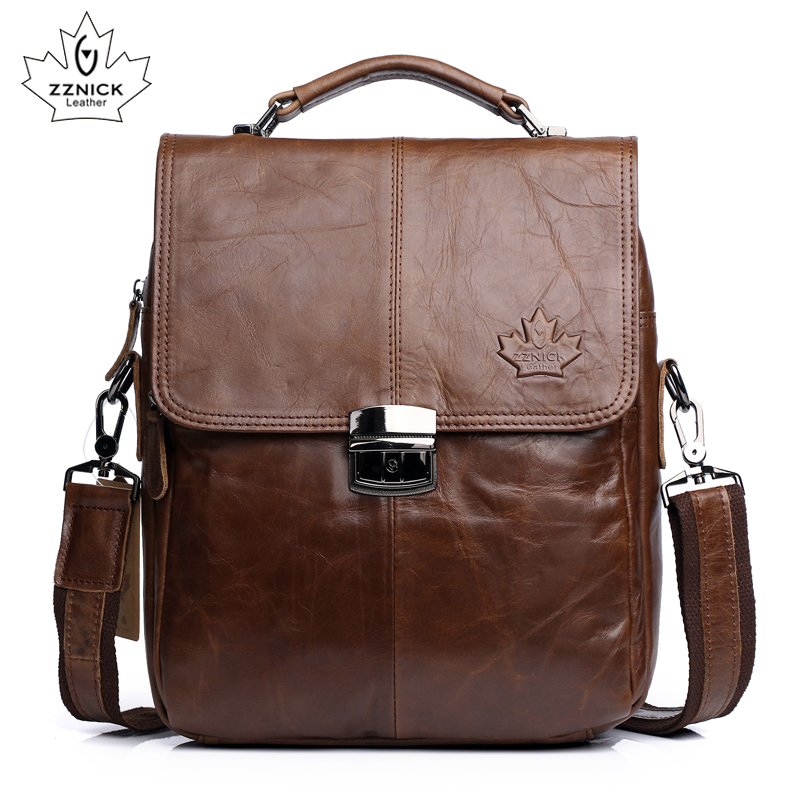 Genuine Leather Shoulder Bag Men Crossbody Messenger Bags Fashion Men's Handbag Casual Tote Bag Male Flap Pocket A4 Zznick