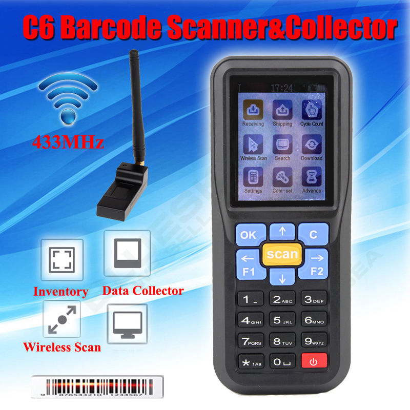 Free shipping! C6 433MHz Laser Barcode Scanner Wireless Scanner For Inventory USB 1D Scanner Collector Up to 300m heroje t5 elite vision wireless 433mhz 1d barcode scanner data collector inventory ean13 1d scanner management inventory wired
