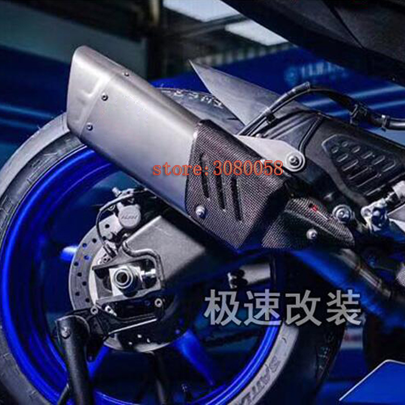2017 New Universal Motorcycle Exhaust Pipe Carbon Fiber Escape Modified Moto Laser Heat Shield Cover For Yamaha R1 R6 YZF