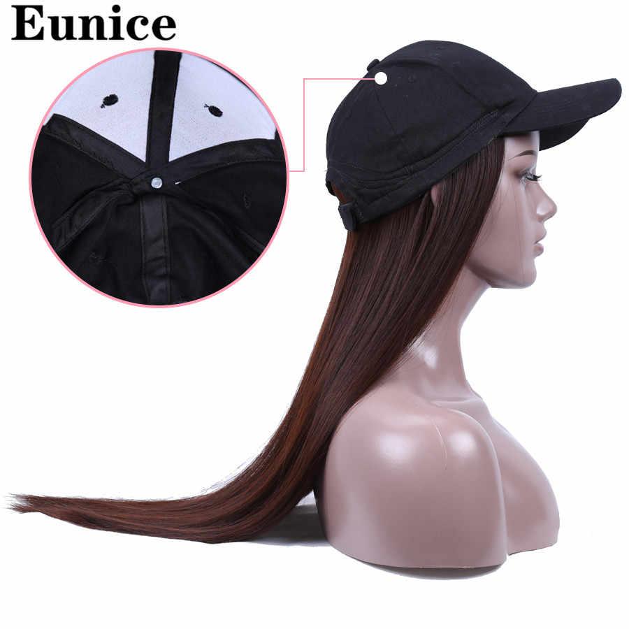 Lange Solid Hoed Pruik Voor Vrouwen 20Inch Rechte Synthetische Hoed Pruik Dagelijks Caps Zomer Hoed Vrouwelijke Verstelbare Hip Hop hoeden Non-Lace Pruik
