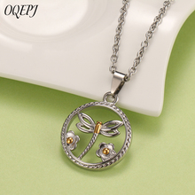 OQEPJ Fashion Round Dragonfly Flowers Necklaces Pendant 316L Stainless Steel Silver Color Insect Unisex Jewelry For Women Men