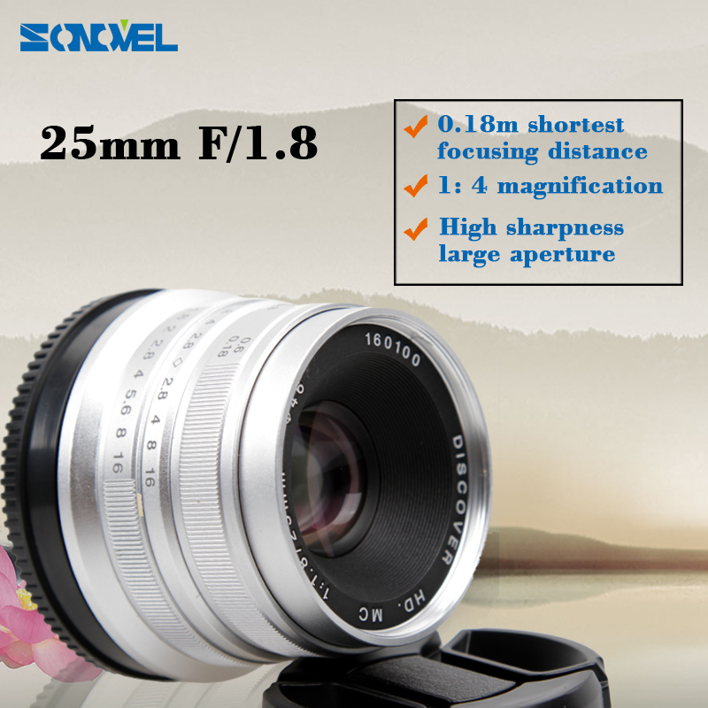 25mm F/1.8 HD MC Interface Manual Focus Lens for SONY E mount A7 II NEX3 5 6 7 A6000 A6300 NEX-5K; NEX-5R; NEX-6; NEX-6L Sliver 50mm f2 0 aperture manual focus lens aps c for eosm nikon1 m43 sony e mount nex3 5t 6 7 a5000 a6000 a6300 fuji xt1 camera