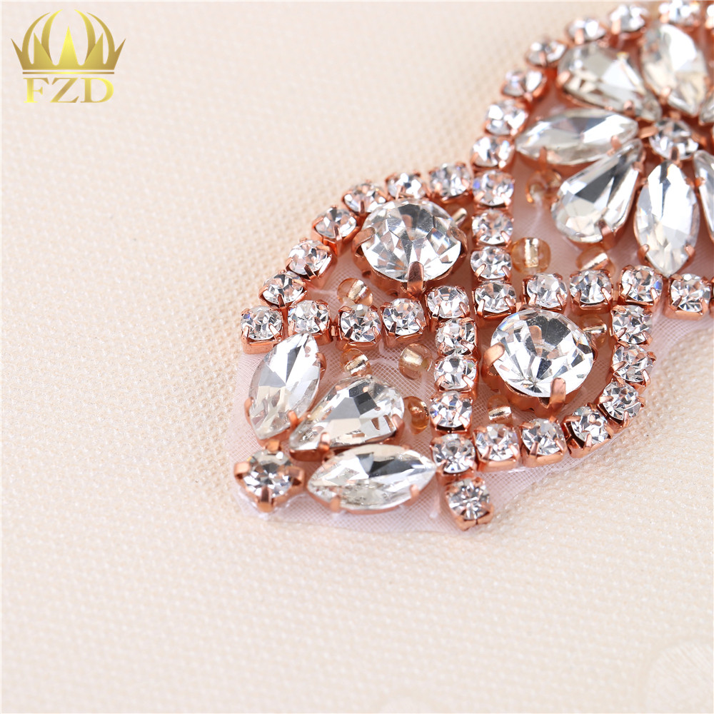 ... Wholesale Handmade Hot Fix Rose Gold Rhinestones Applique Iron Sew On  Bling Applique. 1 4 a3642711567e