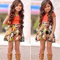 Moda Infantil Meninas Roupas Set-manga Curta T-shirt Floral + saia Conjunto de Roupas Da Menina Da Criança Crianças Bebê Menina do Verão roupas