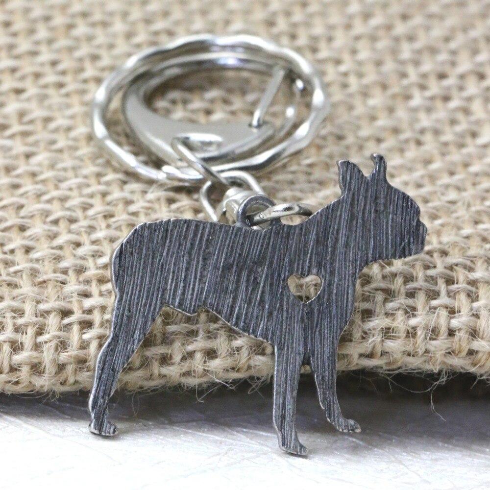 Best buy ) }}Boston Terrier Key Chain Doggie Puppy Animal Shape Silver Filled Metal Key Chain Unique