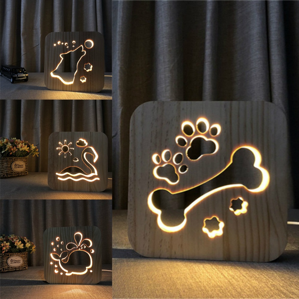 Wooden Dog Paw Lamp Kids Bedroom Decoration Warm Light France French Bulldog LED USB Night Light for Children Gift Drop shipping