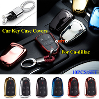 Colorful 10PCS Car Accessorie silica gel Car Key Case Covers Bag Shell Alloy Keychain for Ca dillac Escalade STS BLS SLS SRX ATS