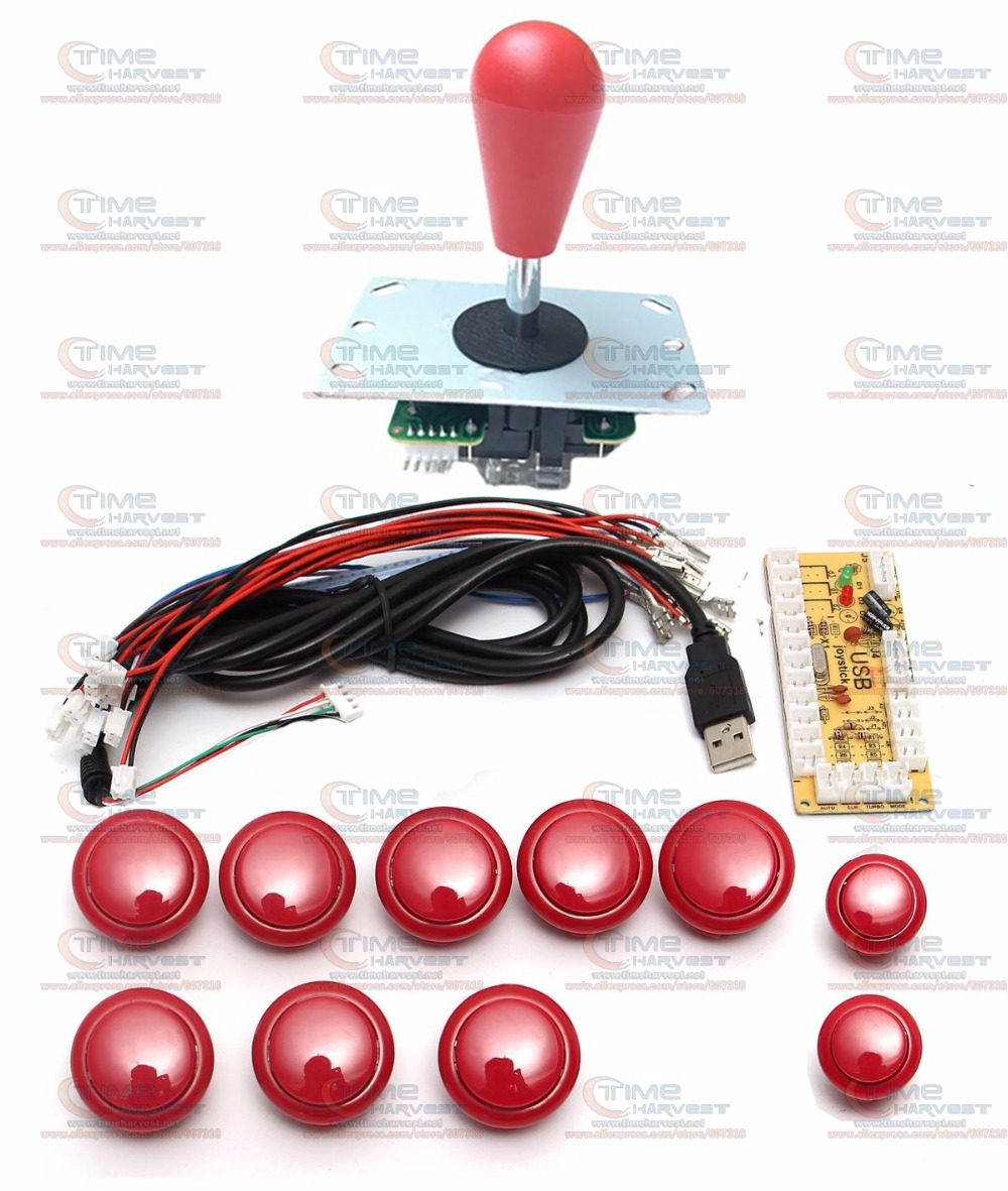 DIY arcade joystick handle set kits with 8 Way Joystick Push buttons Zero Delay USB adapter to PC joystick button encoder plate цена