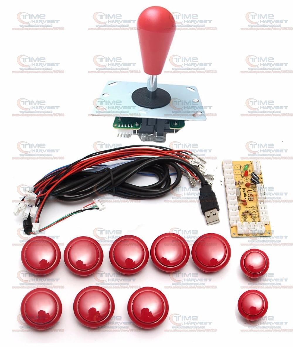 DIY arcade joystick poignée set kits avec 8 Voies Joystick Push boutons Zéro Retard USB adaptateur pour PC joystick bouton plaque de codeur