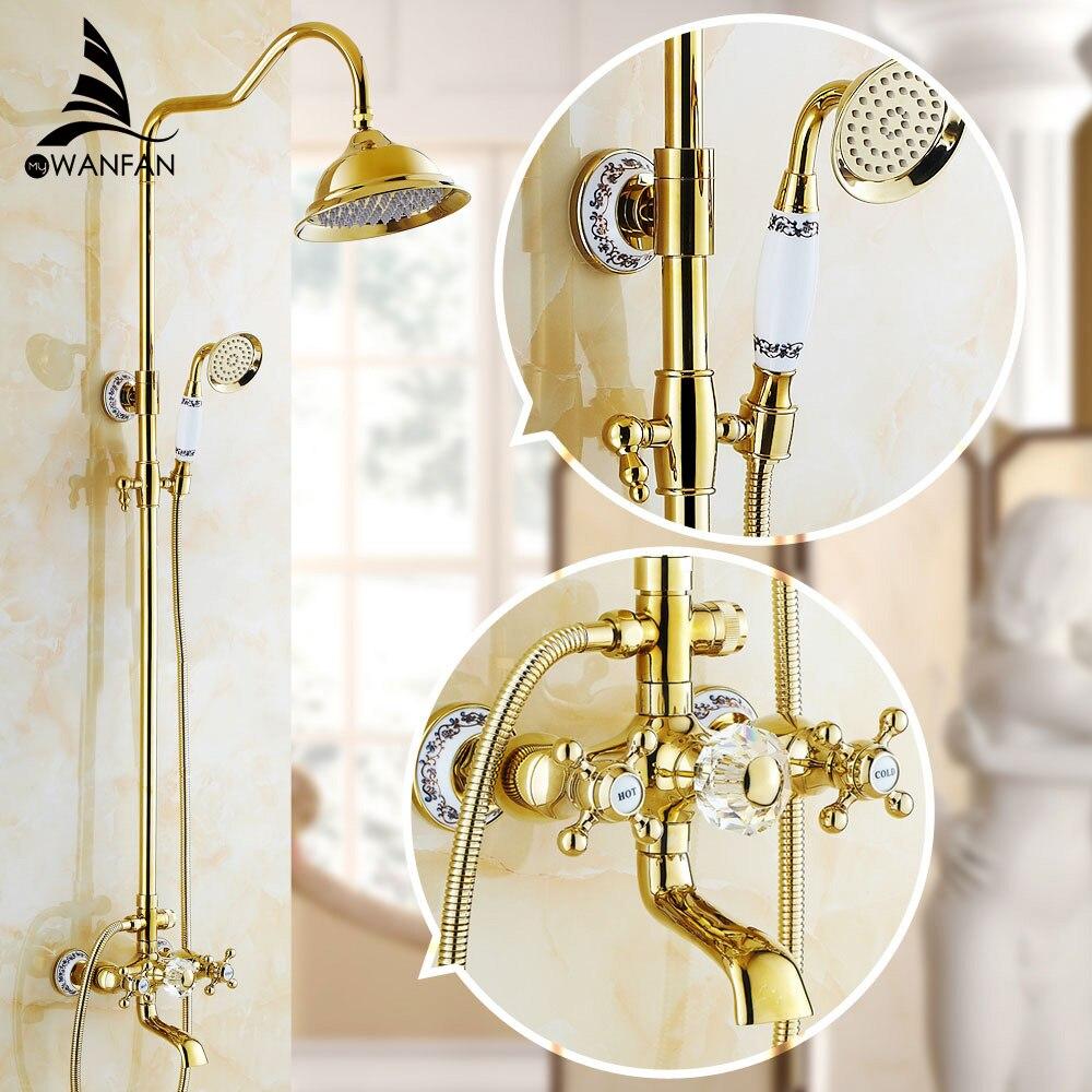 Смесители для душа Роскошные Латунь Дождь Душ Дурал ручка настенное крепление золото Ванная комната кран с горкой бар ванной кран wf-18049