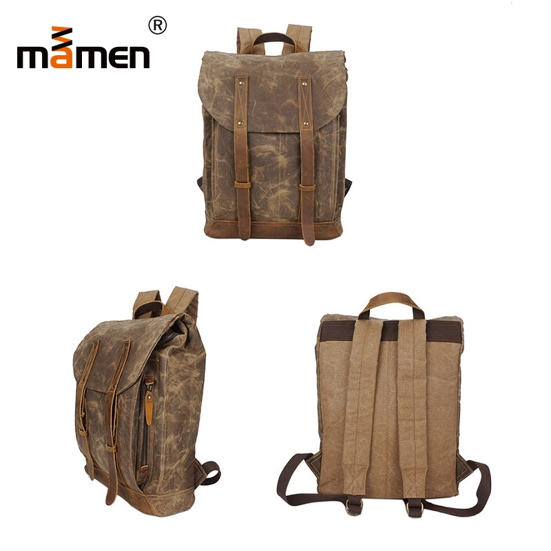 Mamen Camera Bag Backpack Canvas Cowhide 32*41*17cm Camera Flash Photo Bag For Computer Phone Cash Wallet Travel Bag 2018 New