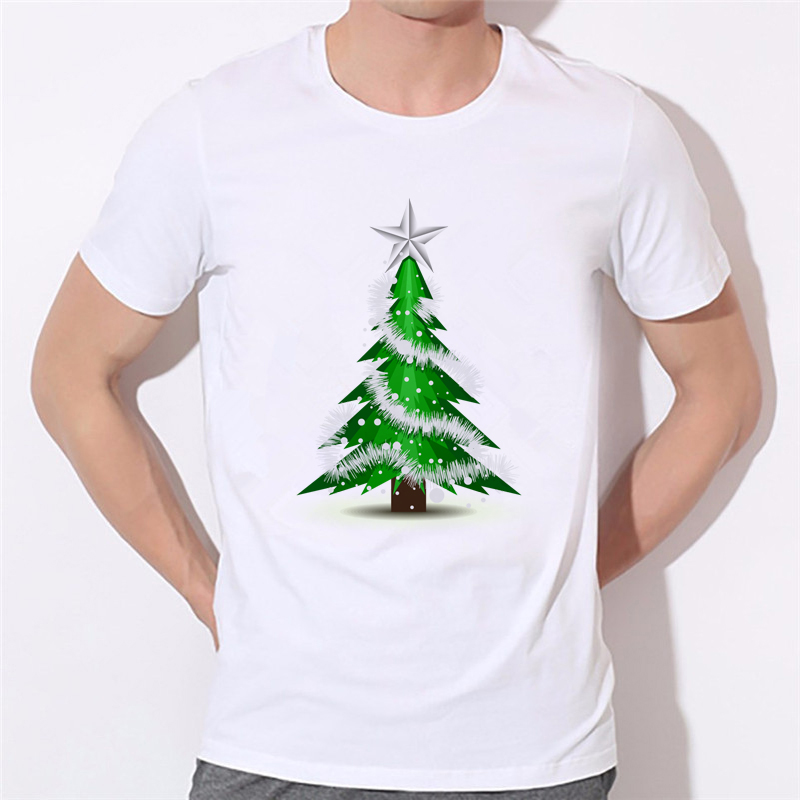 Mens T shirts Christmas Trees Printed Men/Women Tshirt 2018 Fashion tree White Boy T-shirt Brand Clothing Christmas gift 48-4#