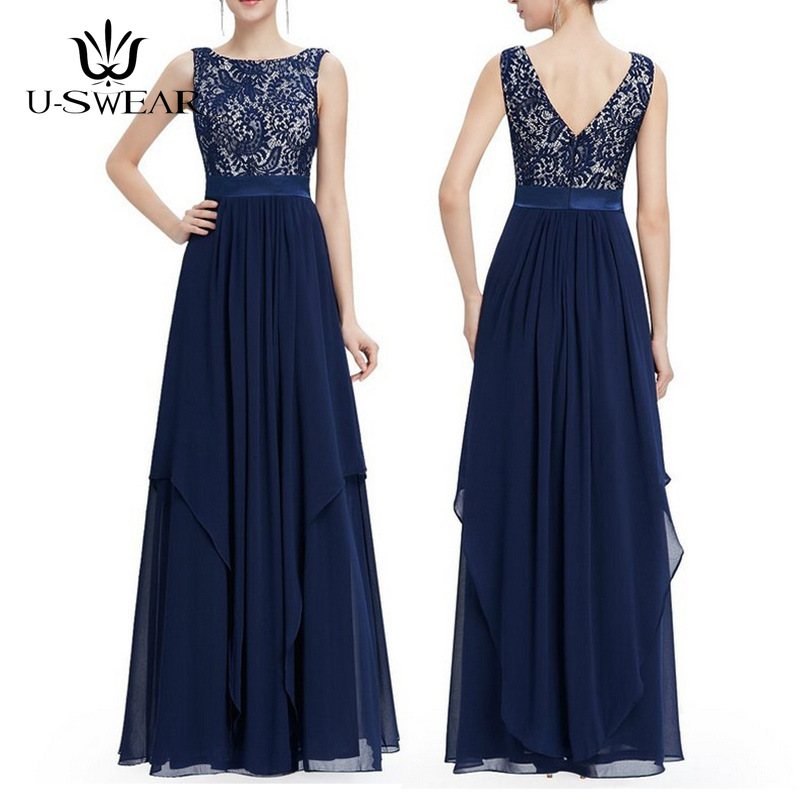 U-SWEAR Sexy O-Neck Sleeveless Deep V Backless Empire Lace Slim Evening Party Prom Formal Gowns Long Dresses Vestidos Ceremonie
