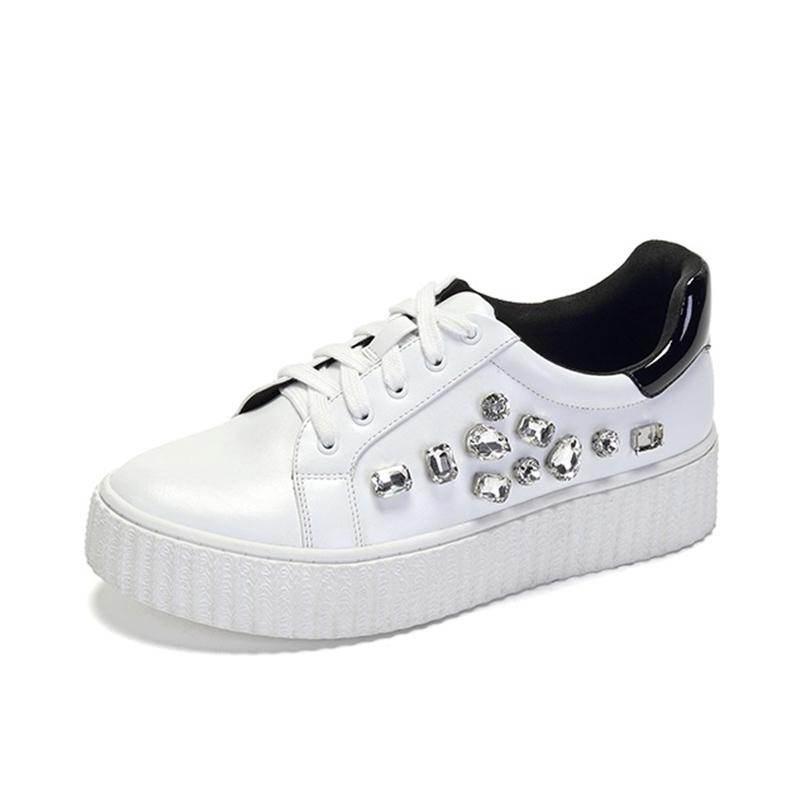 Spring Crystal Drill Small White Shoes Thick-soled Fashion Lace Women's Shoes Rhinestone platform shoes Scarpe Donna
