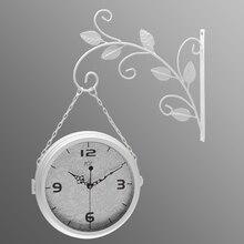 European Double-sided Creative Wall Clock for Retro Garden Wrought Iron Modern Design Crafts Mute Decorative Clock597