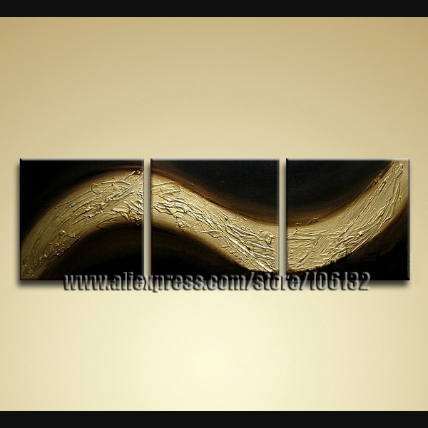 Framed 3 Panel Huge Brown Abstract Oil Painting 3 Piece Canvas Wall ...