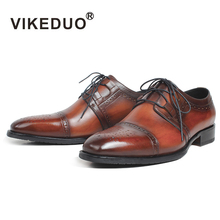 VIKEDUO Brown Italy Derby Shoes Patina Brogue Handmade Office Dress Mens Footwear Wedding Business Leather Zapatos