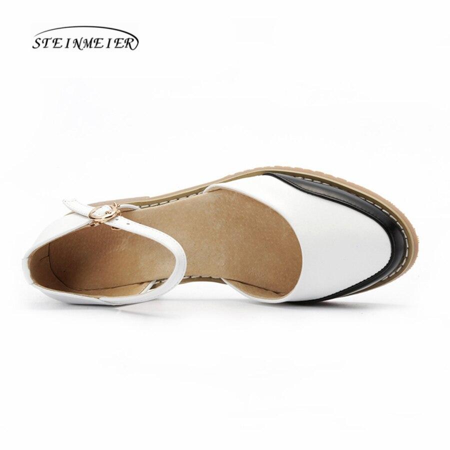 Femmes À Chaussures Pour White 9 En Taille Véritable Blanc Boucle Bout Vert Cuir Main Color Sangle Us La othr Rond Oxford green Sandales White Black Britannique 2018 xRSI8wqq