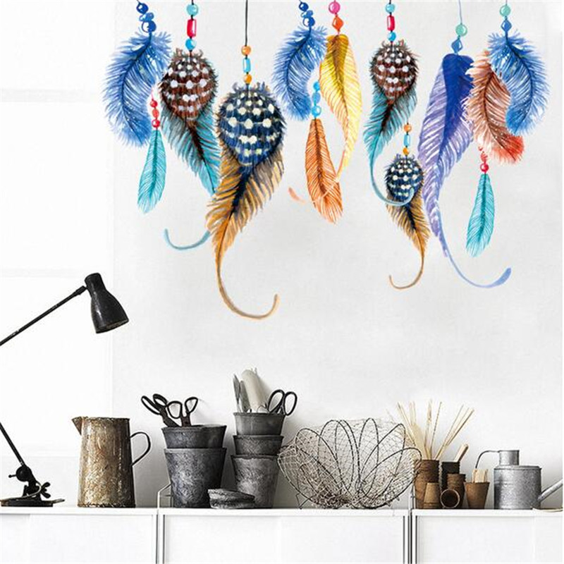 Hot Sale Removable Multi Color Feathers Wall Sticker DIY Stickers Decor DIY Poster Wallpaper Art Decals Design House Decoration