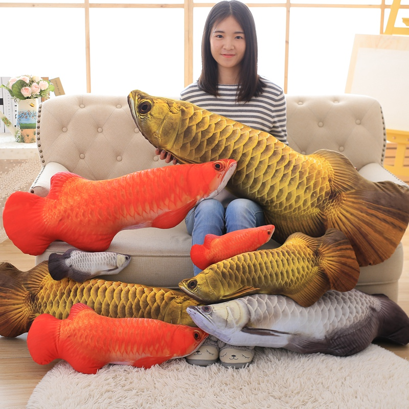 Plsuh 3D Simulation Gold Arowana Red Yellow Fish Toy Stuffed Doll Cushion Pillow Kids Baby Birthday Gift Home Shop Decor Triver cute lie prone dog long pillow cushion bolster plush toy stuffed doll baby kids friend birthday gift home shop decor triver page 2