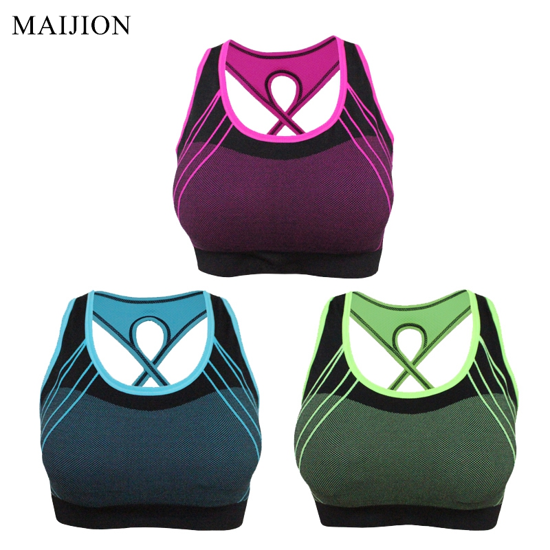 Prix pour MAIJION Femmes À Séchage Rapide Soutien-Gorge de Sport, Croix Dos Creux Push Up Rembourré Crop Top, antichoc sous-vêtements de fitness yoga fonctionnement gilet top