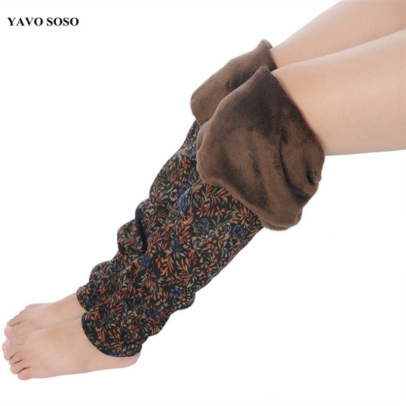 YAVO SOSO 2018 Autumn Winter Style Plus Velvet Warm leggings Women Plus size XXXL Printing Flowers Casual Stretch women's pants