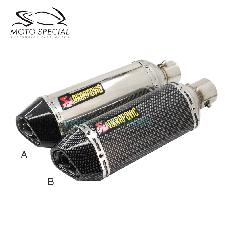 Akrapovic Motorcycle Exhaust Pipe ID: 51mm 45mm Length: 370mm Moto Escape Stainless Steel Motorbike Exhaust Pipe With DB Killer