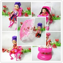 Free shipping girl birthday gift 5 items stroller handcart walker rocking chair accessories for barbie doll