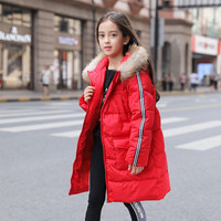 2018 Teenage Girls Winter Down Jacket Fur Collar Coat Duck Snowsuit Baby Kids Clothes Overalls for Age 56789 10 11 12 Years old