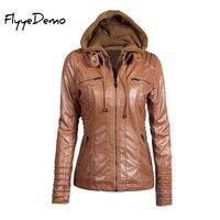 FlyyeDemo XS-7XL 2017 בתוספת גודל של סתיו חורף הנשים פו Jacket סלעית עור נשים מעיל אופנוע מעיל הלבשה עליונה Blusas